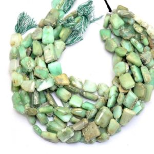 "Shop Chrysoprase Chip & Nugget Beads! Chrysoprase Faceted Nuggets Beads | AAA Chrysoprase Gemstone 14mm-17mm Step Cut Tumbled | Natural Semi Precious Gemstone Beads | 15"" Strand 