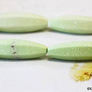 """Shop Chrysoprase Bead Shapes! L/ Elongated Matte Lemon Chrysoprase 14x40mm Hexagon Rice Beads 15.5"""" long Stabilized Lemon Green Gemstone For Jewelry Designs Making 