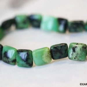 """Shop Chrysoprase Bead Shapes! M/ Chrysoprase 12x12mm Flat Square beads 16"""" strand Natural green gemstone beads for jewelry making 