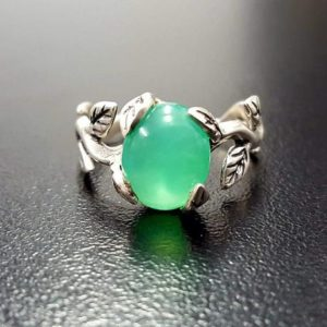 Shop Chrysoprase Rings! Green Flower Ring, Chrysoprase Ring, Natural Chrysoprase, May Ring, Silver Leaf Ring, May Birthstone, Green Leaf Ring, Green Vintage Ring | Natural genuine Chrysoprase rings, simple unique handcrafted gemstone rings. #rings #jewelry #shopping #gift #handmade #fashion #style #affiliate #ad