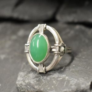Shop Chrysoprase Rings! Chrysoprase Ring, Natural Chrysoprase, Antique Ring, Heavy Ring, Statement Ring, Viking Ring, Green Ring, Large Oval Ring, Solid Silver Ring | Natural genuine Chrysoprase rings, simple unique handcrafted gemstone rings. #rings #jewelry #shopping #gift #handmade #fashion #style #affiliate #ad
