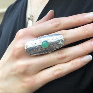 Shop Chrysoprase Rings! Chrysoprase Ring, Natural Chrysoprase, May Birthstone, Silver Shield Ring, Green Vintage Ring, Statement Ring, May Ring, Silver Vintage Ring | Natural genuine Chrysoprase rings, simple unique handcrafted gemstone rings. #rings #jewelry #shopping #gift #handmade #fashion #style #affiliate #ad