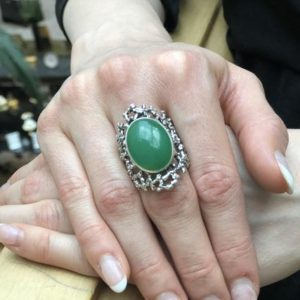 Shop Chrysoprase Rings! Chrysoprase Ring, Natural Chrysoprase, May Birthstone, Silver Shield Ring, Green Vintage Ring, Green Ring, Statement Ring, Solid Silver Ring | Natural genuine Chrysoprase rings, simple unique handcrafted gemstone rings. #rings #jewelry #shopping #gift #handmade #fashion #style #affiliate #ad