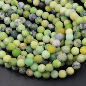 """Shop Chrysoprase Round Beads! Matte Natural African Green Chrysoprase 6mm 8mm 10mm Round Beads 15.5"""" Strand 