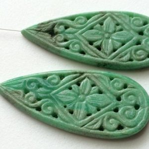 Shop Chrysoprase Shapes! 58x26mm Chrysoprase Filigree Drilled Hand Carved Matched Pair, Chrysoprase Gemstone Carving, Natural Chrysoprase For Jewelry – GODP712 | Natural genuine stones & crystals in various shapes & sizes. Buy raw cut, tumbled, or polished gemstones for making jewelry or crystal healing energy vibration raising reiki stones. #crystals #gemstones #crystalhealing #crystalsandgemstones #energyhealing #affiliate #ad