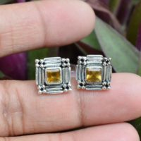 Genuine Citrine Studs, 925 Sterling Silver Earrings, Citrine 5x5mm Square Gemstone Earrings, Citrine Stud Earrings, Boho Studs, Women's Stud | Natural genuine Gemstone jewelry. Buy crystal jewelry, handmade handcrafted artisan jewelry for women.  Unique handmade gift ideas. #jewelry #beadedjewelry #beadedjewelry #gift #shopping #handmadejewelry #fashion #style #product #jewelry #affiliate #ad