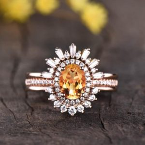 Citrine engagement ring set rose gold vintage bridal set 3pcs citrine diamond wedding rings for women,antique jewelry,gifts for her | Natural genuine Gemstone rings, simple unique alternative gemstone engagement rings. #rings #jewelry #bridal #wedding #jewelryaccessories #engagementrings #weddingideas #affiliate #ad