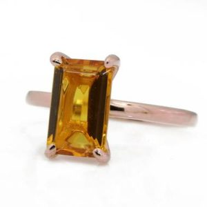Shop Citrine Rings! November Birthstone Ring, citrine Ring, stackable Solitaire Ring, rectangle Stone Ring, gemstone Ring, claw Rings, rose Gold Ring | Natural genuine Citrine rings, simple unique handcrafted gemstone rings. #rings #jewelry #shopping #gift #handmade #fashion #style #affiliate #ad