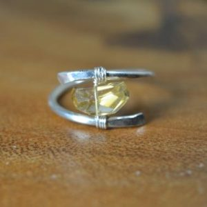 Raw Citrine Ring in Sterling Silver, 14k Gold // Wire Wrapped Gemstone Ring // Healing Crystal // Bohochic Citrine // November Birthstone | Natural genuine Gemstone rings, simple unique handcrafted gemstone rings. #rings #jewelry #shopping #gift #handmade #fashion #style #affiliate #ad
