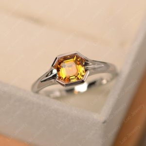 Shop Citrine Rings! Citrine ring, sterling silver, solitaire ring, asscher cut, engagement ring, November birthstone ring | Natural genuine Citrine rings, simple unique alternative gemstone engagement rings. #rings #jewelry #bridal #wedding #jewelryaccessories #engagementrings #weddingideas #affiliate #ad