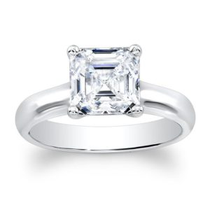 Classic 4 prong Asscher Cut White Sapphire engagement ring 14k white gold | Natural genuine Array rings, simple unique alternative gemstone engagement rings. #rings #jewelry #bridal #wedding #jewelryaccessories #engagementrings #weddingideas #affiliate #ad