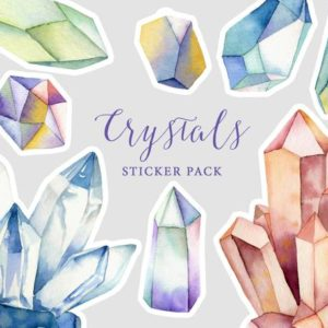 Shop Printable Crystal Cards, Pages, & Posters! Crystals printable sticker pack | watercolor crystals | gemstone stickers | bujo stickers | crystal planner | instant download stickers | Shop jewelry making and beading supplies, tools & findings for DIY jewelry making and crafts. #jewelrymaking #diyjewelry #jewelrycrafts #jewelrysupplies #beading #affiliate #ad