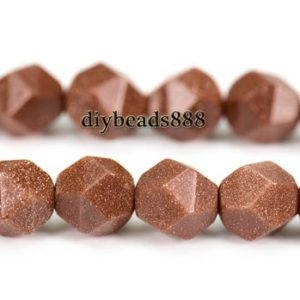 "Shop Diamond Chip & Nugget Beads! Goldstone,15"" full strand Goldstone Star Cut Beads,Faceted round beads,Nugget, Diamond beads,Gemstone, 8mm 