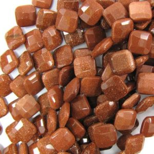 """Shop Diamond Faceted Beads! 14mm faceted goldstone diamond beads 15.5"""" strand 33479 