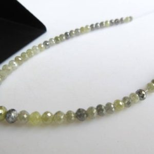 Shop Diamond Faceted Beads! 5 Inches Of 2mm to 4mm Faceted Round Ball Shaped Grey White yellow Diamond Beads, Natural Diamond Beads Loose, Dds500 | Natural genuine faceted Diamond beads for beading and jewelry making.  #jewelry #beads #beadedjewelry #diyjewelry #jewelrymaking #beadstore #beading #affiliate #ad