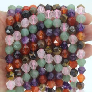 Shop Diamond Faceted Beads! 7x8mm Natural Star Cut Faceted Stone , Genuine Multi Stone Gemstone Diamond Faceted Beads, full Strand—about 45-46pcs—14inches –ns05   Natural genuine faceted Diamond beads for beading and jewelry making.  #jewelry #beads #beadedjewelry #diyjewelry #jewelrymaking #beadstore #beading #affiliate #ad