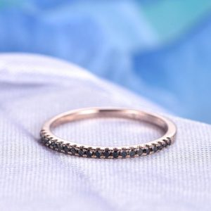 Black Diamond Wedding Ring 14k Rose Gold Half Eternity Ring Thin Wedding Band Diamond Matching Band Personalized for her/him Custom Ring | Natural genuine Gemstone rings, simple unique alternative gemstone engagement rings. #rings #jewelry #bridal #wedding #jewelryaccessories #engagementrings #weddingideas #affiliate #ad