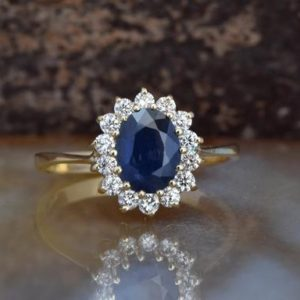 Shop Sapphire Rings! Diamond ring with Sapphire-Blue Sapphire-1 ct Blue Sapphire Engagement Ring-Yellow Gold Engagement Ring -Diana Ring-Anniversary ring-For her | Natural genuine Sapphire rings, simple unique alternative gemstone engagement rings. #rings #jewelry #bridal #wedding #jewelryaccessories #engagementrings #weddingideas #affiliate #ad