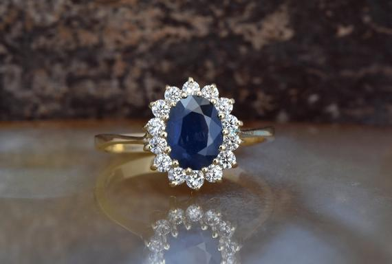 Diamond Ring With Sapphire-blue Sapphire-1 Ct Blue Sapphire Engagement Ring-yellow Gold Engagement Ring -diana Ring-anniversary Ring-for Her