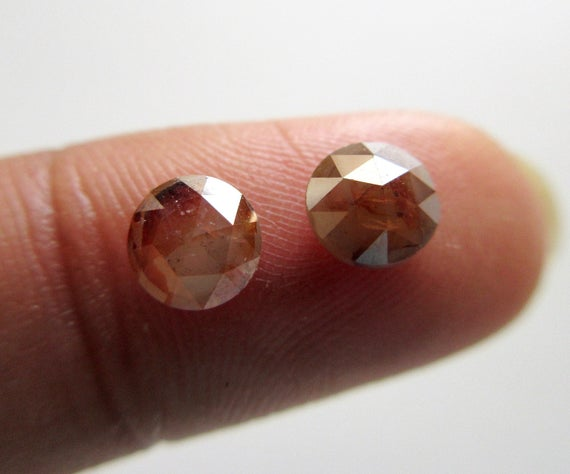 2 Pieces Matched Pairs Natural Red Round Rose Cut Diamond Loose, 4.5mm To 5mm Red Diamond Rose Cut For Earrings, Dds595 / 3