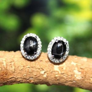 Shop Diopside Earrings! Blackstar diopside oval stud earring,black star silver studs,great jet black color,4 line visible star earring,925 silver earring | Natural genuine Diopside earrings. Buy crystal jewelry, handmade handcrafted artisan jewelry for women.  Unique handmade gift ideas. #jewelry #beadedearrings #beadedjewelry #gift #shopping #handmadejewelry #fashion #style #product #earrings #affiliate #ad