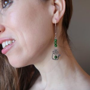 Shop Diopside Earrings! Diopside Cat Earrings Sterling Silver Long | Natural genuine Diopside earrings. Buy crystal jewelry, handmade handcrafted artisan jewelry for women.  Unique handmade gift ideas. #jewelry #beadedearrings #beadedjewelry #gift #shopping #handmadejewelry #fashion #style #product #earrings #affiliate #ad