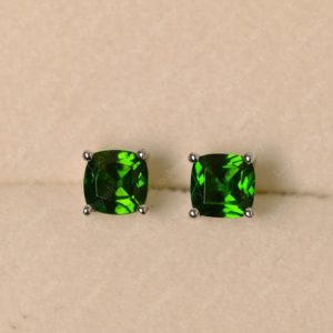 Shop Diopside Earrings! Diopside earrings, cushion cut, sterling silver, green gemstone earrings | Natural genuine Diopside earrings. Buy crystal jewelry, handmade handcrafted artisan jewelry for women.  Unique handmade gift ideas. #jewelry #beadedearrings #beadedjewelry #gift #shopping #handmadejewelry #fashion #style #product #earrings #affiliate #ad
