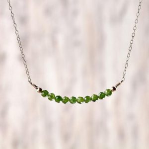 Shop Diopside Necklaces! Diopside necklace silver birthstone necklace silver Delicate chrome diopside jewelry Crystal stones necklace for her Bride gift for sister | Natural genuine Diopside necklaces. Buy crystal jewelry, handmade handcrafted artisan jewelry for women.  Unique handmade gift ideas. #jewelry #beadednecklaces #beadedjewelry #gift #shopping #handmadejewelry #fashion #style #product #necklaces #affiliate #ad