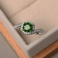Green Gemstone Ring, Engagement Ring, Natural Chrome Diopside Ring, Sterling Silver Ring, Round Cut Ring | Natural genuine Gemstone jewelry. Buy handcrafted artisan wedding jewelry.  Unique handmade bridal jewelry gift ideas. #jewelry #beadedjewelry #gift #crystaljewelry #shopping #handmadejewelry #wedding #bridal #jewelry #affiliate #ad