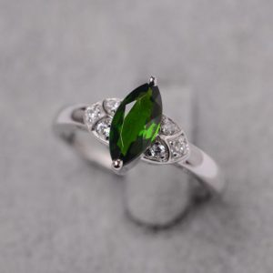 Shop Diopside Rings! Diopside ring marquise cut green gemstone ring sterling silver wedding ring for women | Natural genuine Diopside rings, simple unique alternative gemstone engagement rings. #rings #jewelry #bridal #wedding #jewelryaccessories #engagementrings #weddingideas #affiliate #ad
