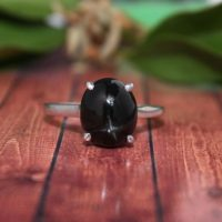 Natural Black Star Diopside Ring / sterling Silver Ring, engagement Ring / minimalist Ring / stack Ring Anniversary Gift / statement Ring 925 Silver / | Natural genuine Gemstone jewelry. Buy handcrafted artisan wedding jewelry.  Unique handmade bridal jewelry gift ideas. #jewelry #beadedjewelry #gift #crystaljewelry #shopping #handmadejewelry #wedding #bridal #jewelry #affiliate #ad
