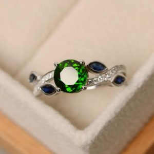 Shop Diopside Rings! Natural diopside ring, multistone ring, leaf ring, sterling silver, green diopside ring, chrome diopside ring, | Natural genuine Diopside rings, simple unique handcrafted gemstone rings. #rings #jewelry #shopping #gift #handmade #fashion #style #affiliate #ad