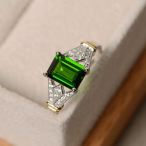 Shop Diopside Rings! Diopside ring, yellow gold, emerald cut gemstone, chrome diopside, sterling silver, claw ring | Natural genuine Diopside rings, simple unique handcrafted gemstone rings. #rings #jewelry #shopping #gift #handmade #fashion #style #affiliate #ad