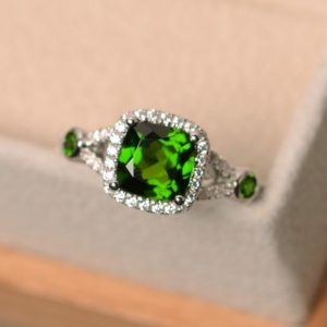 Diospdie ring, cushion cut dopside, chrome diopside, sterling silver, green diopside ring | Natural genuine Gemstone rings, simple unique handcrafted gemstone rings. #rings #jewelry #shopping #gift #handmade #fashion #style #affiliate #ad