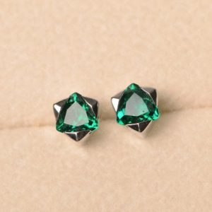 Shop Emerald Earrings! Emerald earrings, May birthstone, trillion cut, solitaire earrings, sterling silver,stud earring | Natural genuine Emerald earrings. Buy crystal jewelry, handmade handcrafted artisan jewelry for women.  Unique handmade gift ideas. #jewelry #beadedearrings #beadedjewelry #gift #shopping #handmadejewelry #fashion #style #product #earrings #affiliate #ad