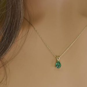 Shop Emerald Necklaces! Emerald Necklace – Natural Pear Shape Emerald Necklace in 14kt Solid Gold – Handmade fine jewelry – Holiday gift – May birthstone | Natural genuine Emerald necklaces. Buy crystal jewelry, handmade handcrafted artisan jewelry for women.  Unique handmade gift ideas. #jewelry #beadednecklaces #beadedjewelry #gift #shopping #handmadejewelry #fashion #style #product #necklaces #affiliate #ad