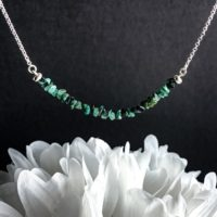 Raw Emerald Bead Bar Necklace Genuine Rough Emerald May Birthstone Healing Crystals | Natural genuine Gemstone jewelry. Buy crystal jewelry, handmade handcrafted artisan jewelry for women.  Unique handmade gift ideas. #jewelry #beadedjewelry #beadedjewelry #gift #shopping #handmadejewelry #fashion #style #product #jewelry #affiliate #ad