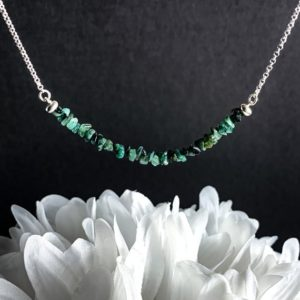 Shop Emerald Necklaces! Raw Emerald Bead Bar Necklace Genuine Rough Emerald May Birthstone Healing Crystals | Natural genuine Emerald necklaces. Buy crystal jewelry, handmade handcrafted artisan jewelry for women.  Unique handmade gift ideas. #jewelry #beadednecklaces #beadedjewelry #gift #shopping #handmadejewelry #fashion #style #product #necklaces #affiliate #ad