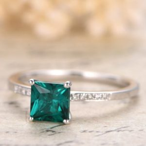 Emerald Engagement Ring 6mm Princess Cut Emerald Ring 14K White Gold May Birthstone Ring Diamond Halo Ring Pave Diamond Wedding Ring | Natural genuine Gemstone rings, simple unique alternative gemstone engagement rings. #rings #jewelry #bridal #wedding #jewelryaccessories #engagementrings #weddingideas #affiliate #ad