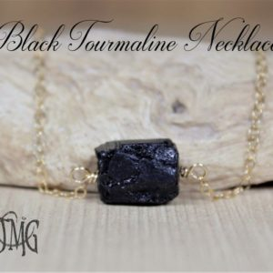 Empath Protection Necklace, Raw Black Tourmaline Necklace, Dainty Genuine Gemstone Crystal Necklace, Healing Necklace, October Birthstone | Natural genuine Array jewelry. Buy crystal jewelry, handmade handcrafted artisan jewelry for women.  Unique handmade gift ideas. #jewelry #beadedjewelry #beadedjewelry #gift #shopping #handmadejewelry #fashion #style #product #jewelry #affiliate #ad