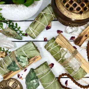 Shop Crystal Healing! Eucalyptus Smudge with Palo Santo & Chrysoprase or Crystal Quartz Bundle Option  | 4in Eucalyptus Smudge Wand for HEALING + DIVINE TRUTH | Shop jewelry making and beading supplies, tools & findings for DIY jewelry making and crafts. #jewelrymaking #diyjewelry #jewelrycrafts #jewelrysupplies #beading #affiliate #ad