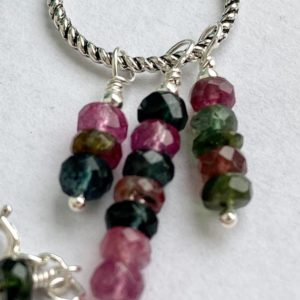 Shop Watermelon Tourmaline Pendants! Faceted watermelon tourmaline pendant on sterling cable chain with moonstone charm | Natural genuine Watermelon Tourmaline pendants. Buy crystal jewelry, handmade handcrafted artisan jewelry for women.  Unique handmade gift ideas. #jewelry #beadedpendants #beadedjewelry #gift #shopping #handmadejewelry #fashion #style #product #pendants #affiliate #ad