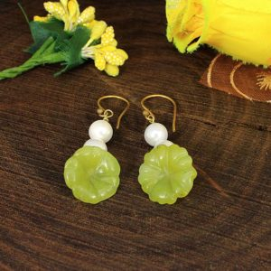 Flower Carving Earrings,Serpentine Earrings,Serpentine Gemstone Earrings,White Pearl Earring,Gold Plated Earring,Handmade,Bridesmaid,Wedding | Natural genuine Gemstone earrings. Buy handcrafted artisan wedding jewelry.  Unique handmade bridal jewelry gift ideas. #jewelry #beadedearrings #gift #crystaljewelry #shopping #handmadejewelry #wedding #bridal #earrings #affiliate #ad