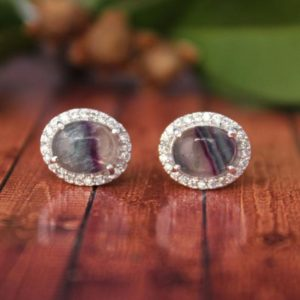 Shop Fluorite Earrings! Fluorite Stud-unique Pattern Fluorite Stud-one Of A Kind Earrings-cluster Fluorite Stud-multi Color Fluorite Earrings-multi Color Gem Stud | Natural genuine Fluorite earrings. Buy crystal jewelry, handmade handcrafted artisan jewelry for women.  Unique handmade gift ideas. #jewelry #beadedearrings #beadedjewelry #gift #shopping #handmadejewelry #fashion #style #product #earrings #affiliate #ad