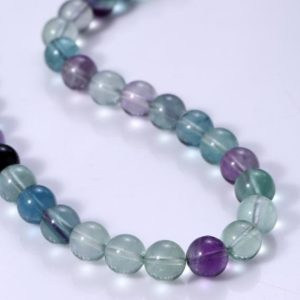 Shop Fluorite Necklaces! Natural Fluorite Round Beads Necklace Rainbow Fluorite Beaded Necklace 8MM Genuine Fluorite Gemstone Necklace Gift For Wife Christmas Gift | Natural genuine Fluorite necklaces. Buy crystal jewelry, handmade handcrafted artisan jewelry for women.  Unique handmade gift ideas. #jewelry #beadednecklaces #beadedjewelry #gift #shopping #handmadejewelry #fashion #style #product #necklaces #affiliate #ad