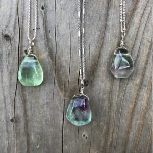 Fluorite / Fluorite Necklace / Fluorite Pendant / Chakra Jewelry / Fluorite Jewelry / Sterling Silver | Natural genuine Gemstone jewelry. Buy crystal jewelry, handmade handcrafted artisan jewelry for women.  Unique handmade gift ideas. #jewelry #beadedjewelry #beadedjewelry #gift #shopping #handmadejewelry #fashion #style #product #jewelry #affiliate #ad