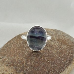 Shop Fluorite Jewelry! Fluorite Ring, Fluorite 10x14mm Oval Shape Gemstone Ring, 925 Sterling Silver Ring, Multi Color Ring | Natural genuine Fluorite jewelry. Buy crystal jewelry, handmade handcrafted artisan jewelry for women.  Unique handmade gift ideas. #jewelry #beadedjewelry #beadedjewelry #gift #shopping #handmadejewelry #fashion #style #product #jewelry #affiliate #ad