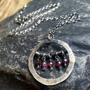 Shop Garnet Necklaces! Sterling silver necklace with garnet • Raw sterling silver necklace • Oxidized  silver • Handmade jewelry •  Get 15% off | Natural genuine Garnet necklaces. Buy crystal jewelry, handmade handcrafted artisan jewelry for women.  Unique handmade gift ideas. #jewelry #beadednecklaces #beadedjewelry #gift #shopping #handmadejewelry #fashion #style #product #necklaces #affiliate #ad