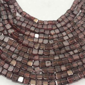 Shop Garnet Bead Shapes! 3.5 – 4 mm Natural Garnet Plain Box Beads Gemstone Beads Strand Sale / Garnet Cube Beads / Semi precious Stone Beads / Garnet Strand Sale | Natural genuine other-shape Garnet beads for beading and jewelry making.  #jewelry #beads #beadedjewelry #diyjewelry #jewelrymaking #beadstore #beading #affiliate #ad