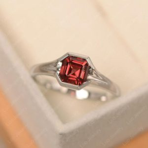 Garnet ring, asscher cut engagement ring, January birthstone, red gemstone ring | Natural genuine Array rings, simple unique alternative gemstone engagement rings. #rings #jewelry #bridal #wedding #jewelryaccessories #engagementrings #weddingideas #affiliate #ad